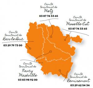 Carte des Comités Territoriaux UIMM Lorraine