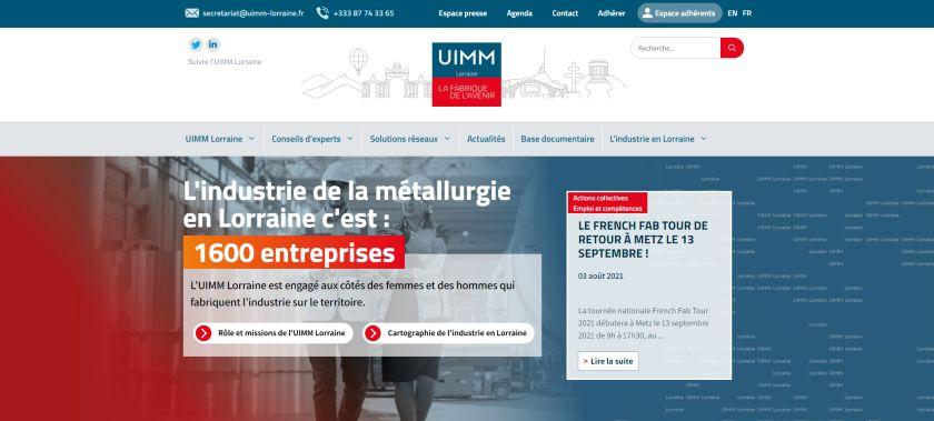 Page d'accueil du site internet de l'UIMM Lorraine.